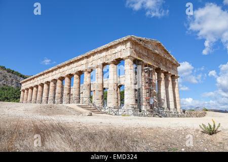 Ancient greek temple of Segesta, Sicily - Stock Photo