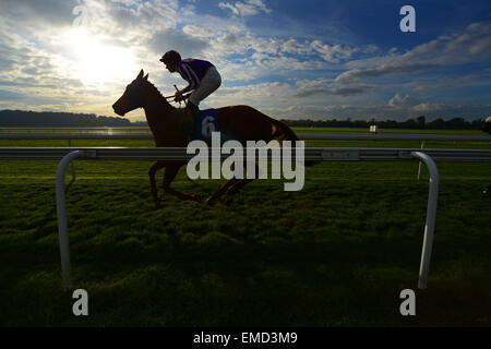 A jockey makes his way to the start of a race at York Racecourse, North Yorkshire, UK. Picture: Scott Bairstow/Alamy - Stock Photo