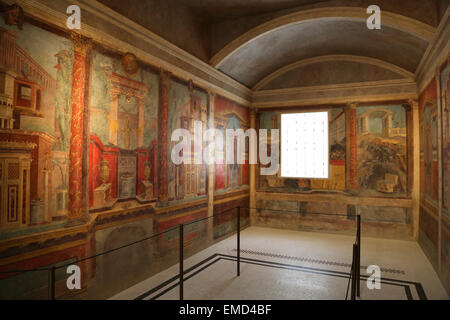 Roman Wall Painting. 50-40 BC. 2nd Style. Colored architectural scenes. Villa of P. Fannius Synistor at Boscoreale, - Stock Photo