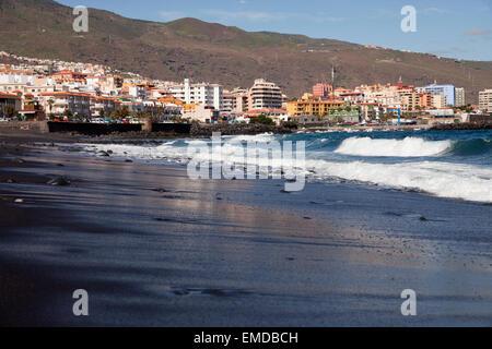 the black sandy beach in Candelaria, Tenerife, Canary Islands, Spain, Europe - Stock Photo