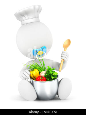 3d white people baby cooks, isolated white background, 3d image - Stock Photo