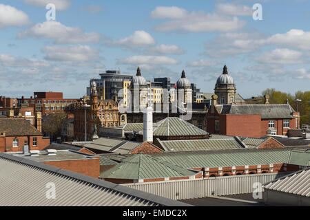 The view across rooftops in Hull city centre including the Ferens art gallery and Maritime Museum - Stock Photo