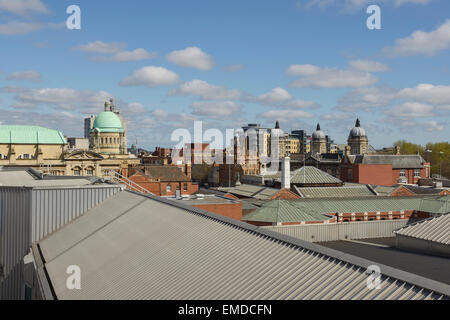 The view across rooftops in Hull city centre including Hull City Hall, The Ferens art gallery and Maritime Museum - Stock Photo