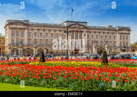 A Landscape view of Buckingham Palace in the Spring time City of Westminster London UK - Stock Photo