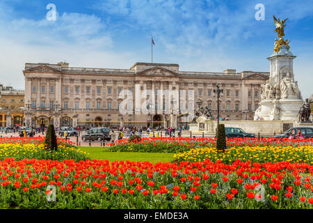 A Landscape view of Buckingham Palace in the Spring time, City of Westminster, London, England  UK - Stock Photo