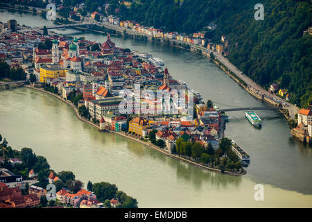 Historic centre of Passau with St. Stephen's Cathedral, the confluence of the three rivers Danube, Inn and Ilz, - Stock Photo