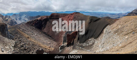 Panoramic image of Red Crater on the Tongariro Crossing, north island, New Zealand. - Stock Photo