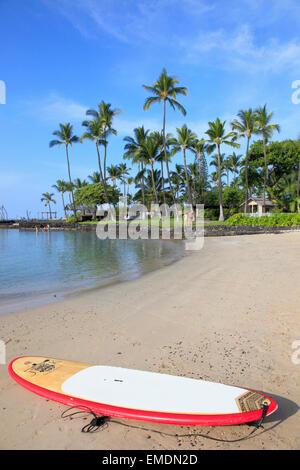 Hawaii, Big Island, Kailua-Kona, Kamakahonu Beach, - Stock Photo