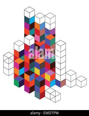 Background with color cube and grid - Stock Photo
