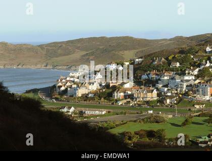 Woolacombe Esplanade and Morte Point North Devon - Stock Photo