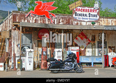 old general store with vintage pumps and texaco sign on route 66 in the former mining town of hackberry arizona - Stock Photo