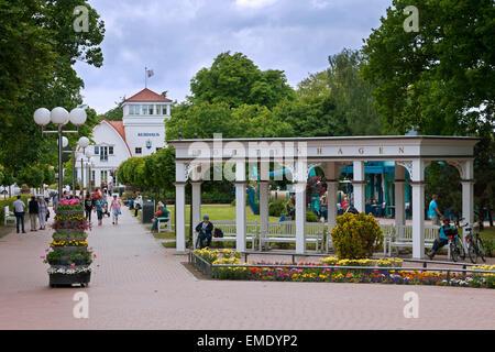 Health spa park / kurgarten / kurpark at seaside resort Boltenhagen, Mecklenburg-Vorpommern, Germany - Stock Photo