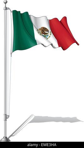 Flag Pole Mexico - Stock Photo