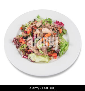 Partridge salad with escarole, lettuce, red pepper and cherry tomato. - Stock Photo
