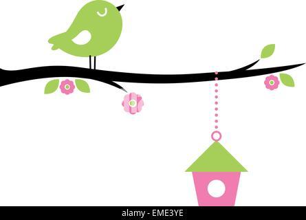 Cute spring Bird on tree branch