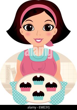 Cute woman cooking cookies isolated on white - Stock Photo