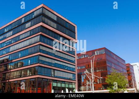 Modern buildings seen in the Hafencity in Hamburg - Stock Photo