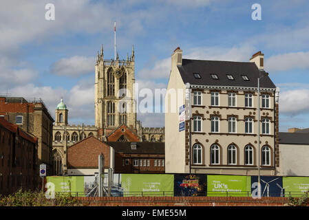 Holy Trinity Church amongst other buildings in Hull city centre UK - Stock Photo