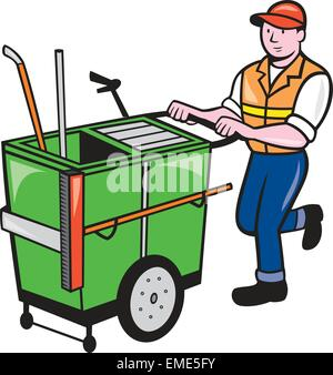 Streeet Cleaner Pushing Trolley Cartoon Isolated - Stock Photo
