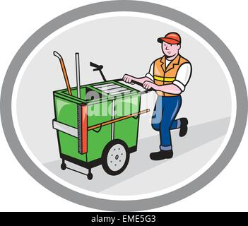 Street Cleaner Pushing Trolley Oval Cartoon - Stock Photo