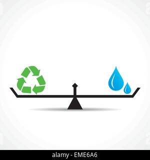 recycle symbol and global both are equal , go green and save earth concept vector - Stock Photo