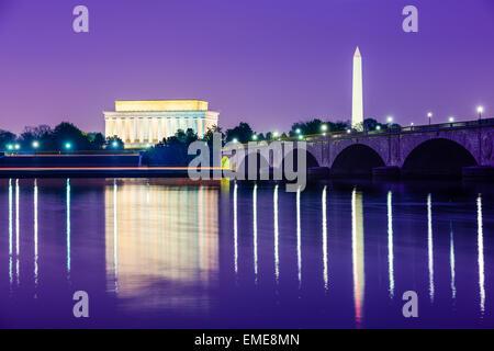 Washington, D.C. from across the Potomac River. - Stock Photo