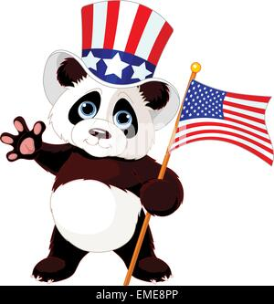 Panda Holding American Flag - Stock Photo