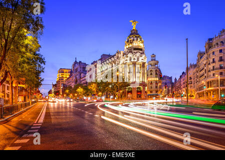Madrid, Spain cityscape at night. - Stock Photo