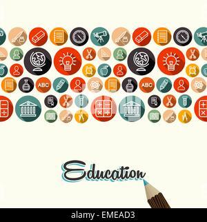 Education flat icons seamless pattern background - Stock Photo