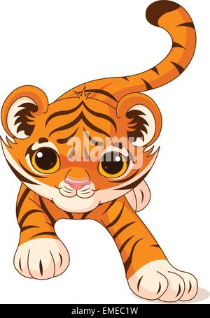 Crouching baby tiger - Stock Photo