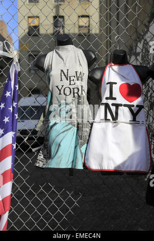T-shirts for sale in Little Italy, Manhattan, New York City, New York, USA - Stock Photo