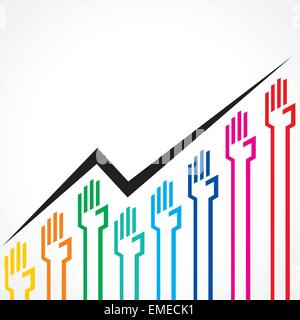 Business graph made by colorful hand icons stock vector - Stock Photo