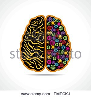 Conceptual idea  silhouette image of brain with gear - Stock Photo