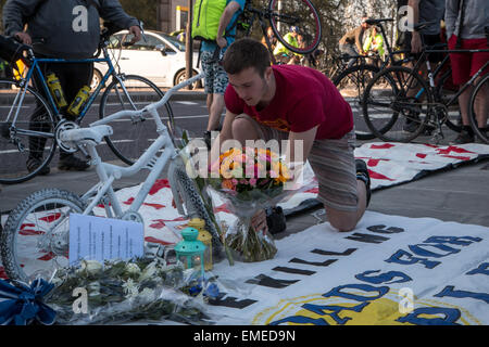 London, UK. 20th Apr, 2015. London vigil and die in for dead cyclist Moira Gemmill Credit:  Zefrog/Alamy Live News - Stock Photo
