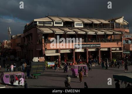 Jamaa el Fna square and marketplace in Marrakech, Morocco. Also Jemaa el-Fnaa, Djema el-Fna or Djemaa el-Fnaa - Stock Photo