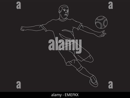 young athletic male soccer player line art - Stock Photo