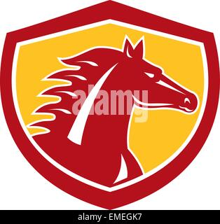 Horse Head Angry Shield Retro - Stock Photo