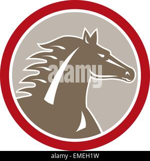Horse Head Angry Circle Retro - Stock Photo