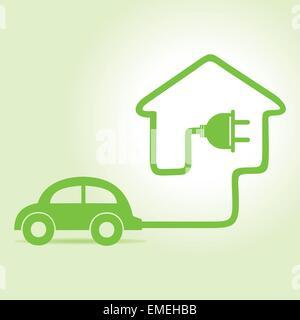 Eco car make a home icon - Stock Photo