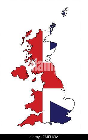 United Kingdom Map and Flag - Stock Photo