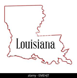 State map outline of Louisiana over a white background Stock Photo