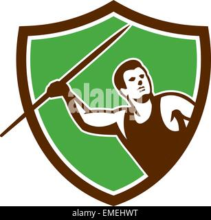 Javelin Throw Track and Field Athlete Shield - Stock Photo