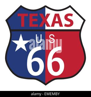 Route 66 Texas sign and flag - Stock Photo