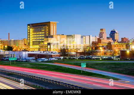 Durham, North Carolina, USA downtown city skyline. - Stock Photo