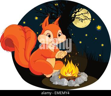 Squirrel campfire - Stock Photo