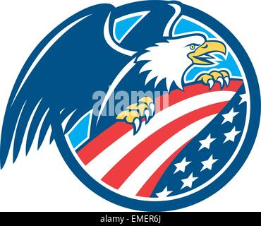 American Bald Eagle Clutching USA Flag Circle Retro - Stock Photo
