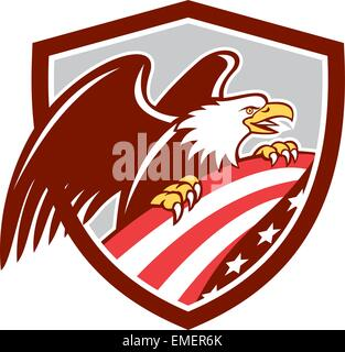 American Bald Eagle Clutching USA Flag Shield Retro - Stock Photo