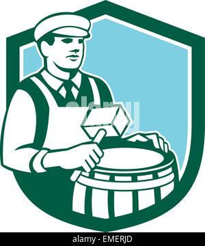 Cooper Barrel Maker Drum Retro Shield - Stock Photo
