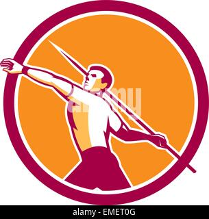 Javelin Throw Track and Field Athlete Circle - Stock Photo