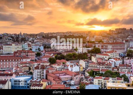 Lisbon, Portugal cityscape during sunset. - Stock Photo